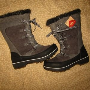 HIGH SIERRA NWT boots fur lace-up gray black sz 11